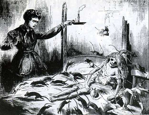 Eaten to death by rats: The Illustrated Police News, 1870s.