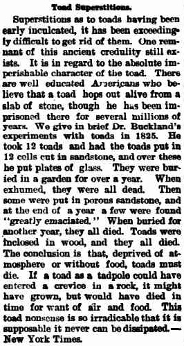 Toad Superstitions. (1896, August 14). The Horsham Times(Vic. : 1882 - 1954), p. 1. Retrieved February 3, 2013, from http://nla.gov.au/nla.news-article73116837