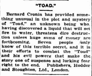 """""""TOAD."""". (1929, December 29).Sunday Times(Perth, WA: 1902 - 1954), p. 28 Section: First Section. Retrieved February 3, 2013, from http://nla.gov.au/nla.news-article58370916"""