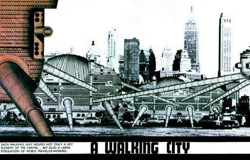 """""""Each walking unit houses not only a key element of the capital, but also a large population of world traveller-workers"""" — Archigram, Walking City in New York, 1964 (viapdsmith)"""