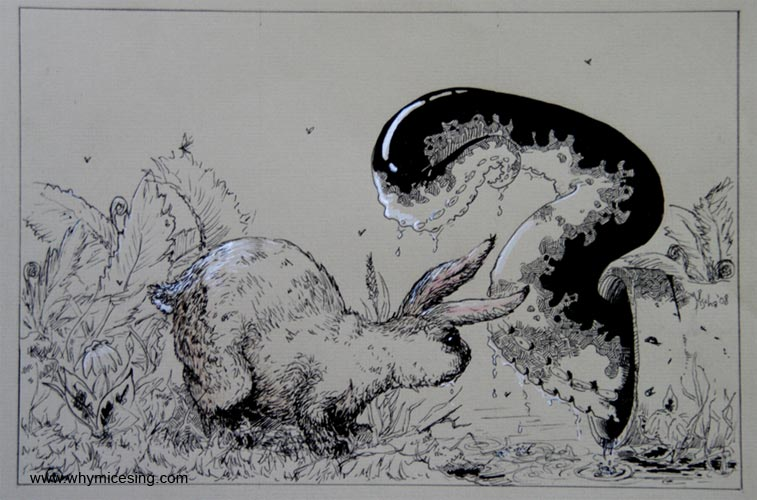 Monopus and the rabbit. 2008. Ink on paper.
