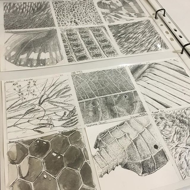 Textures (mostly ink) for an assignment. Took far longer then expected. Also turns out (despite ink drops), much prefer stippling with a dip pen to a fineliner/marker. #ink