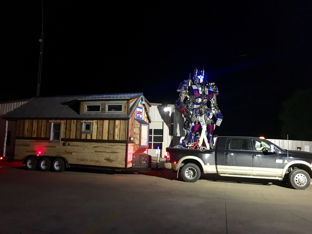 And holding down the fort across town was Optimus Prime, who towers over the tiny house at 22' tall. 4/4/16
