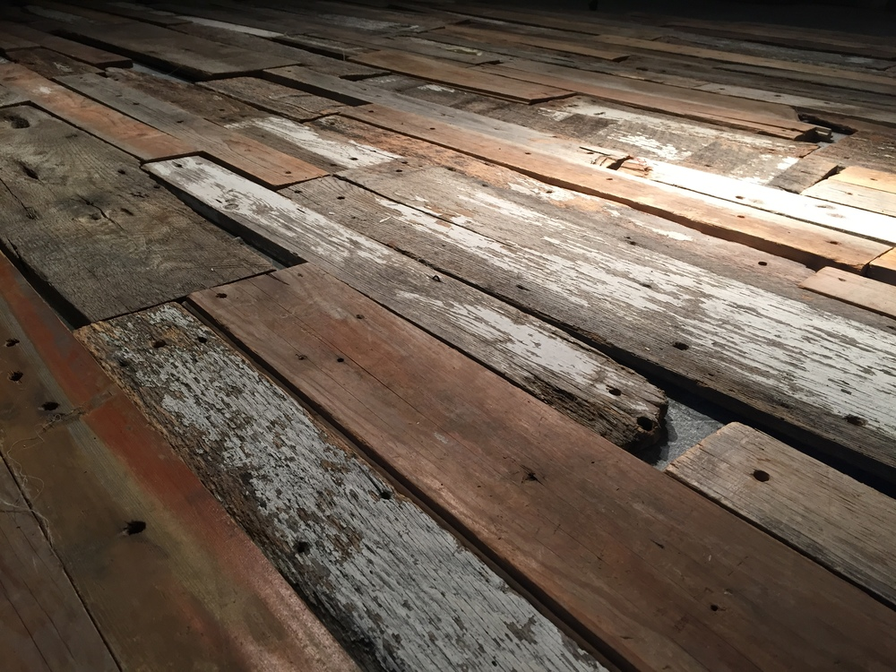 Barnwood scrap flooring. I'm gonna add some obvious plywood copies of some of these pieces in here later.