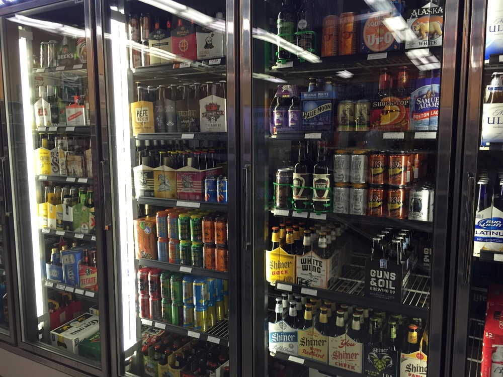 Large selection of Texas-brewed craft beer!