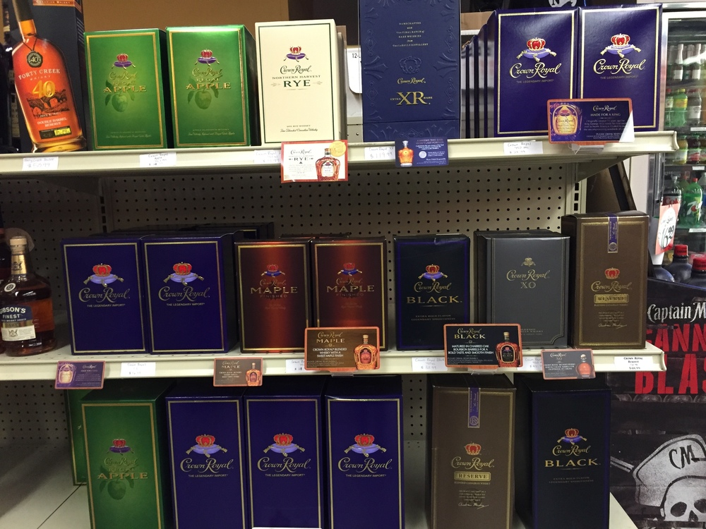 Full line of Crown Royal