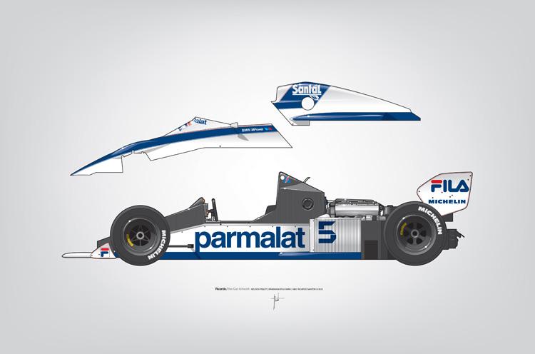 Outline Series N.º6, Nelson Piquet, Brabham BT-52 BMW, 1983