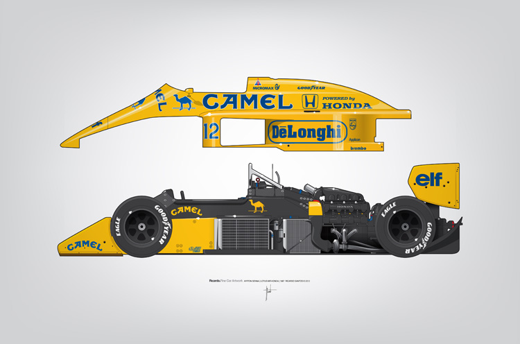 Outline Series N.º5, Ayrton Senna, Lotus 99T-Honda, 1987