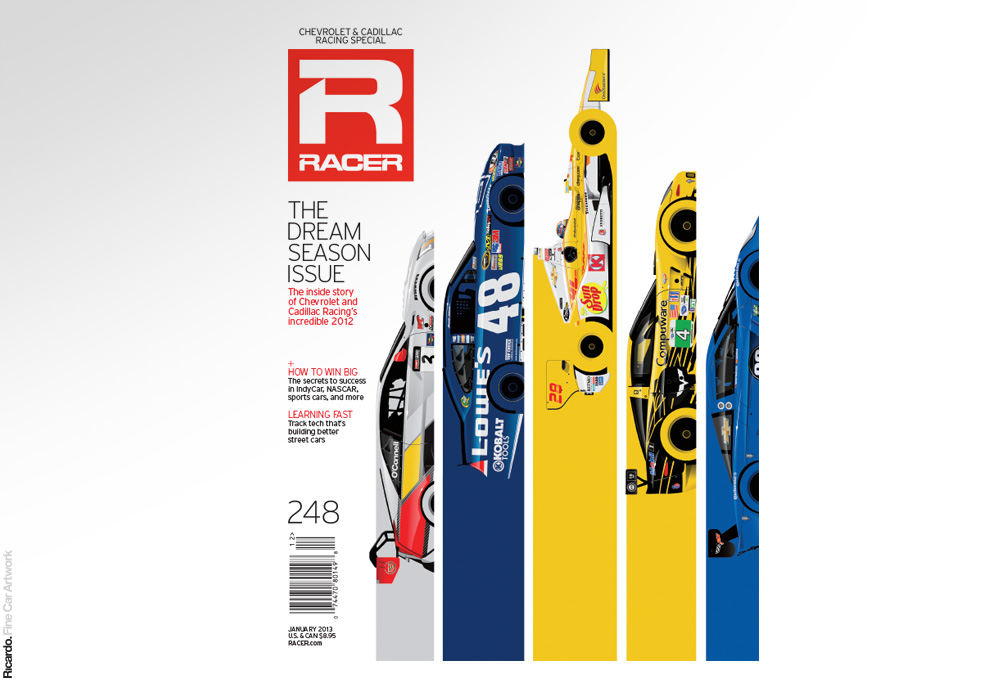 Illustration:  Chevrolet and Cadillac Racing 2012, RACER Magazine January 2013 issue cover   Client: RACER Magazine