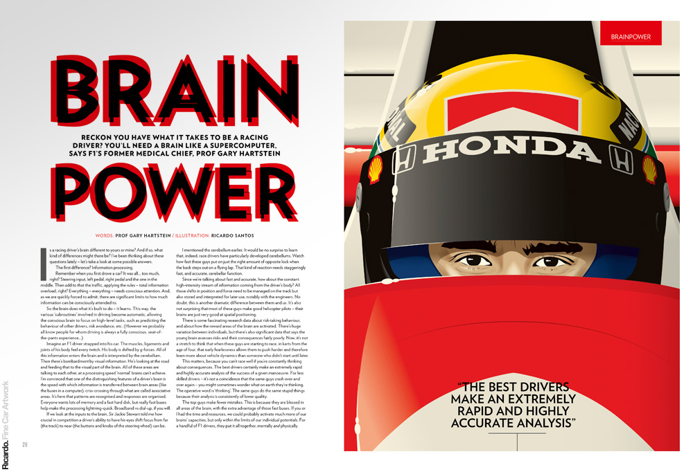 Illustration: Ayrton Senna Client: Top Gear magazine UK