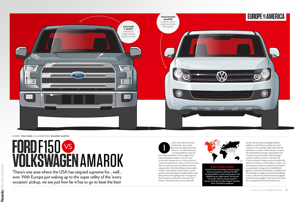 Infographic: Ford F150 vs VW Amarok Client: Top Gear magazine UK