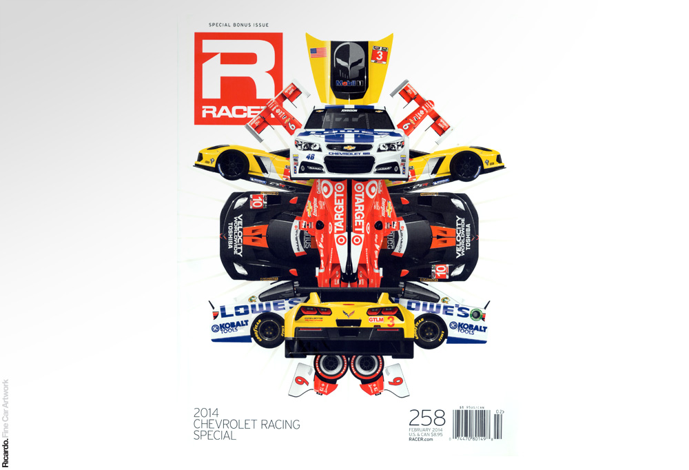Illustration: GM Racing Special, RACER Magazine February 2013 issue cover Client: RACER Magazine