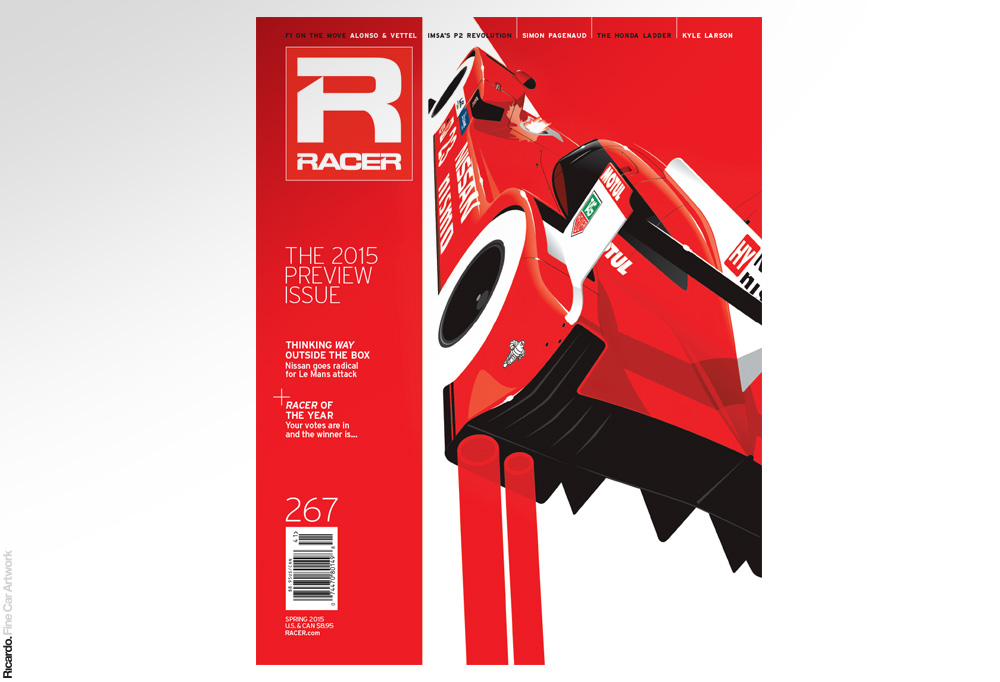Illustration: Nissan GT-R Nismo LMP1, RACER Magazine Spring 2015 issue cover ( paper edition)  Client: RACER Magazine