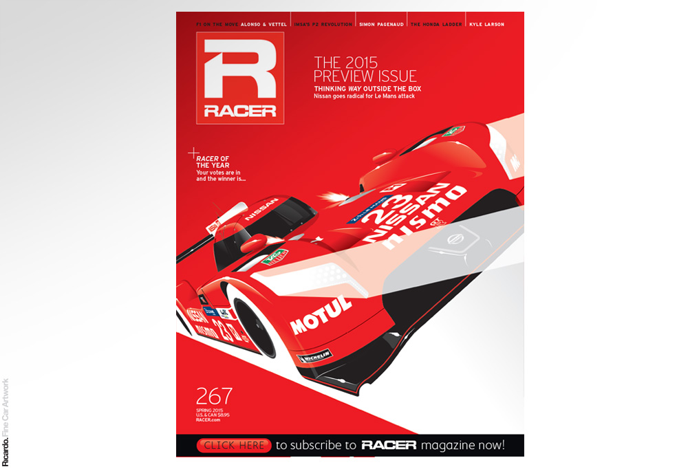 Illustration: Nissan GT-R Nismo LMP1, RACER Magazine Spring 2015 issue cover (digital edition) Client: RACER Magazine