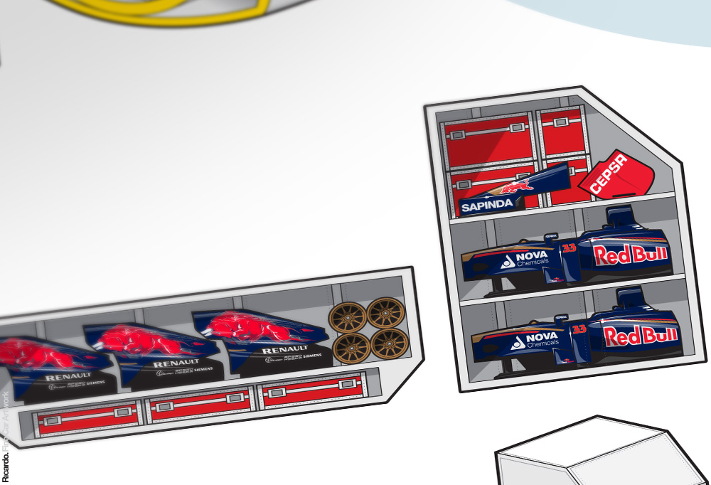 Infographic: How to transport a Formula 1 team by air and sea   Client: Scuderia Toro Rosso