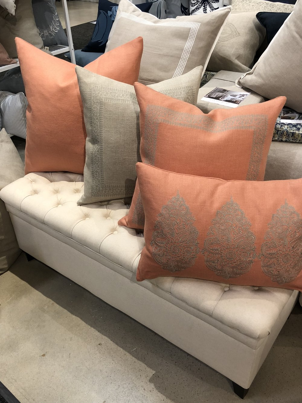 """New """"Global Inspired Collection"""" using Belgium linen basketweave fabric.....check out this new color--Apricot."""