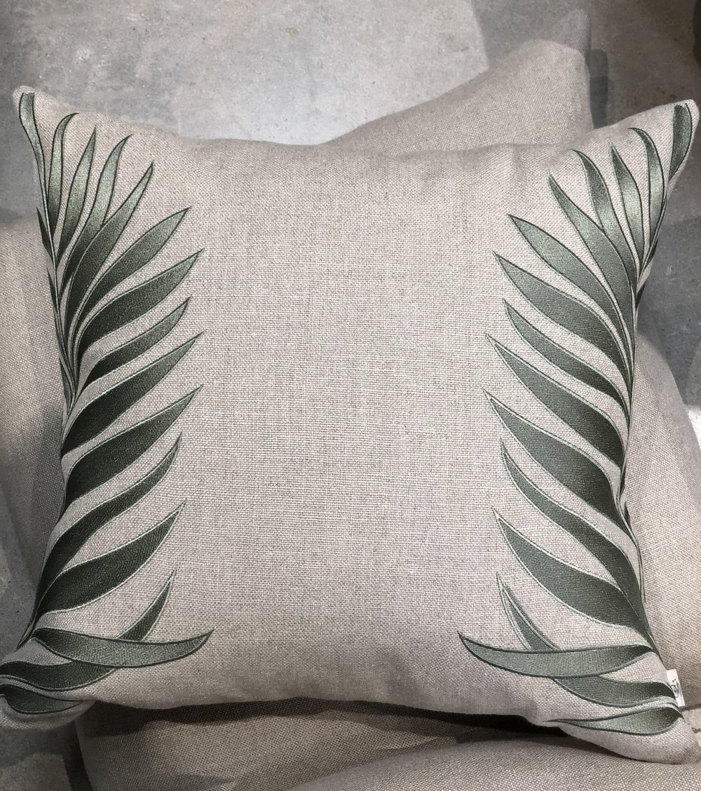 """New """"Tropical Side Palm"""" embroidered in sage on natural Belgium linen basketweave."""