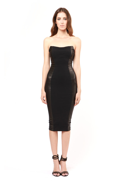 the strapless pencil dress w/ leather  black — samantha eng.
