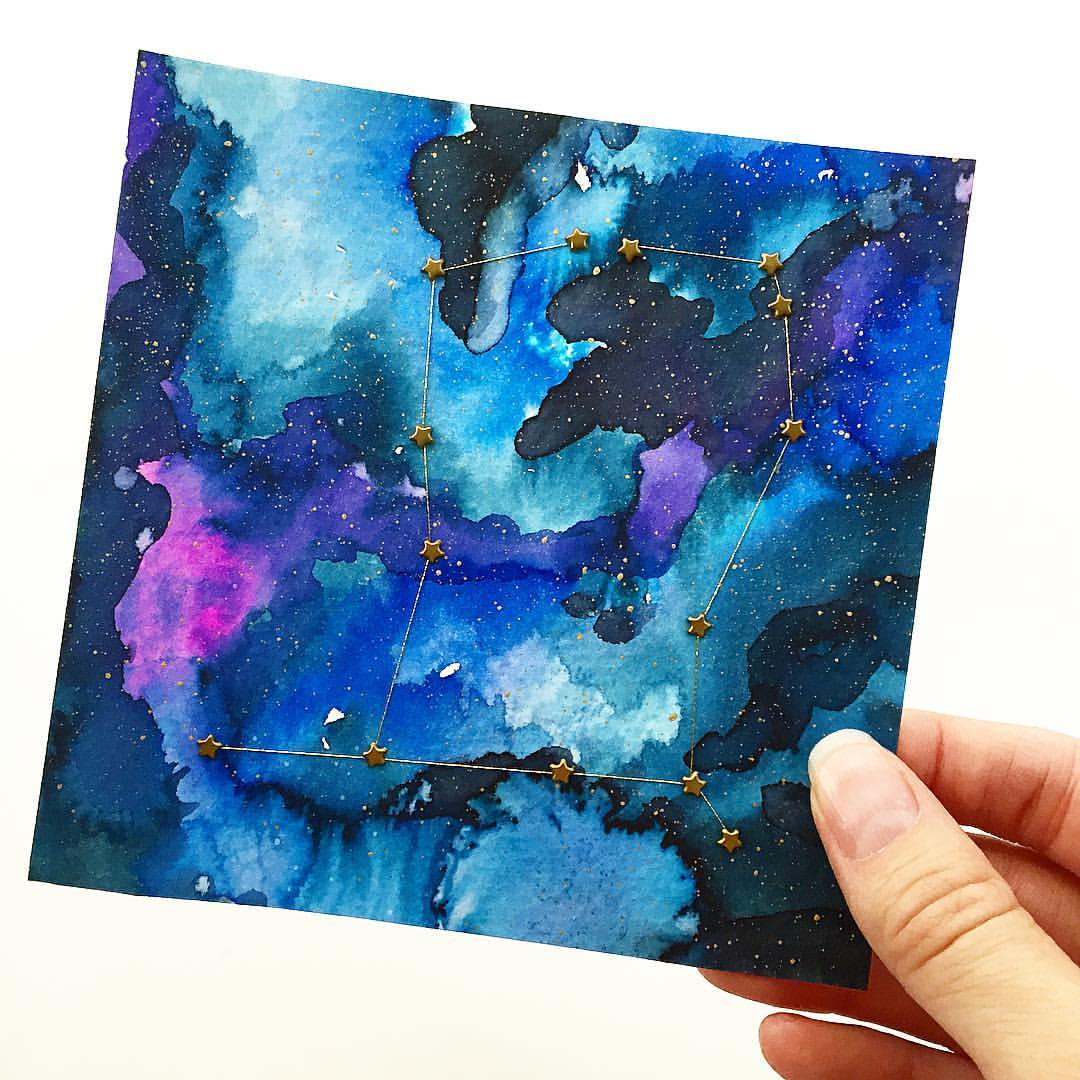 gold constellation in a hand painted watercolor galaxy maiden
