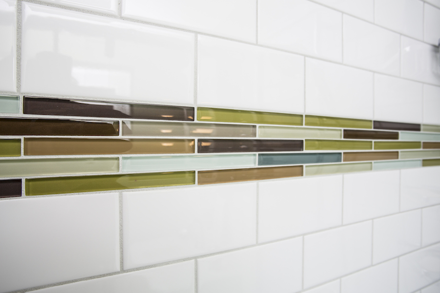 Green, yellow, and brown horizontal mosaic tile