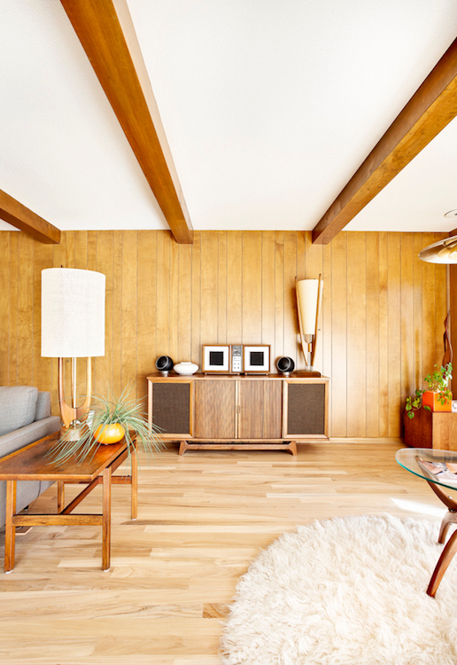 Wood floor with wood panels on wall