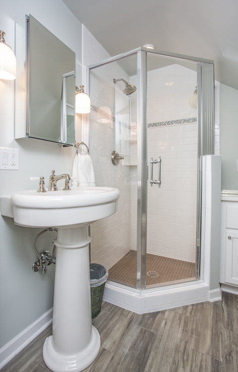 Bathroom with corner shower