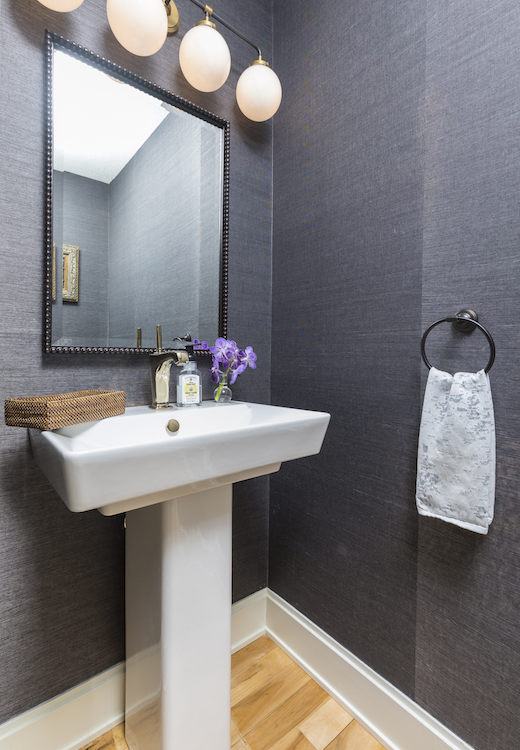 Powder room with grey walls