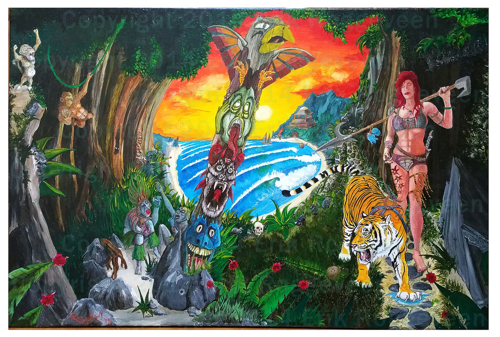 Acrylic painting in progress! Lady and Tiger hunting pygmy cannibals.