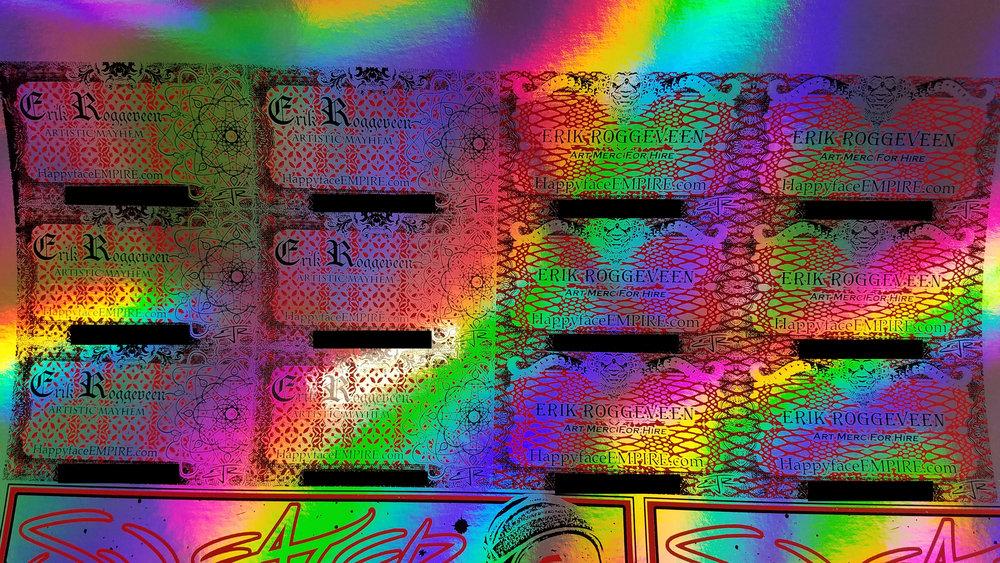 Original business card art for EJR's black cards, tested on foil.