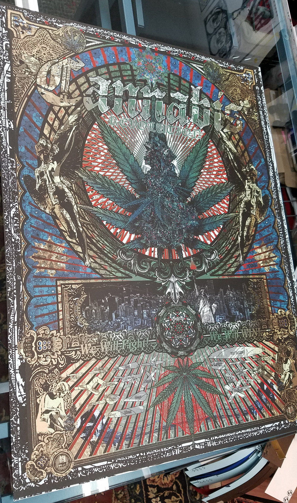 Cannabis Revolution printed ON TOP of an Ice Pirates print on Bluebell Stardream paper.