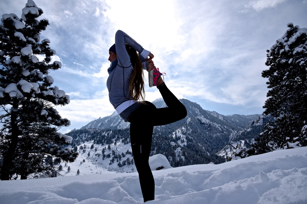 Lily stretching in Boulder, CO. She is in the mountains at around 6000 feet!