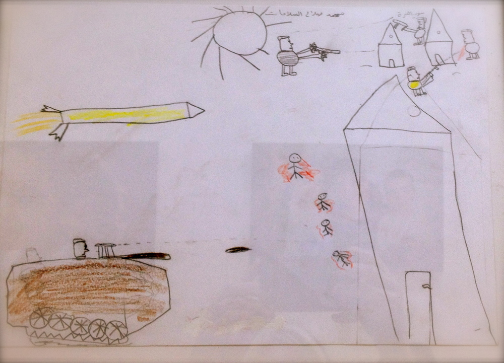 Drawn by 8 year old Kareem with what he witnessed first-hand in his village in Syria.