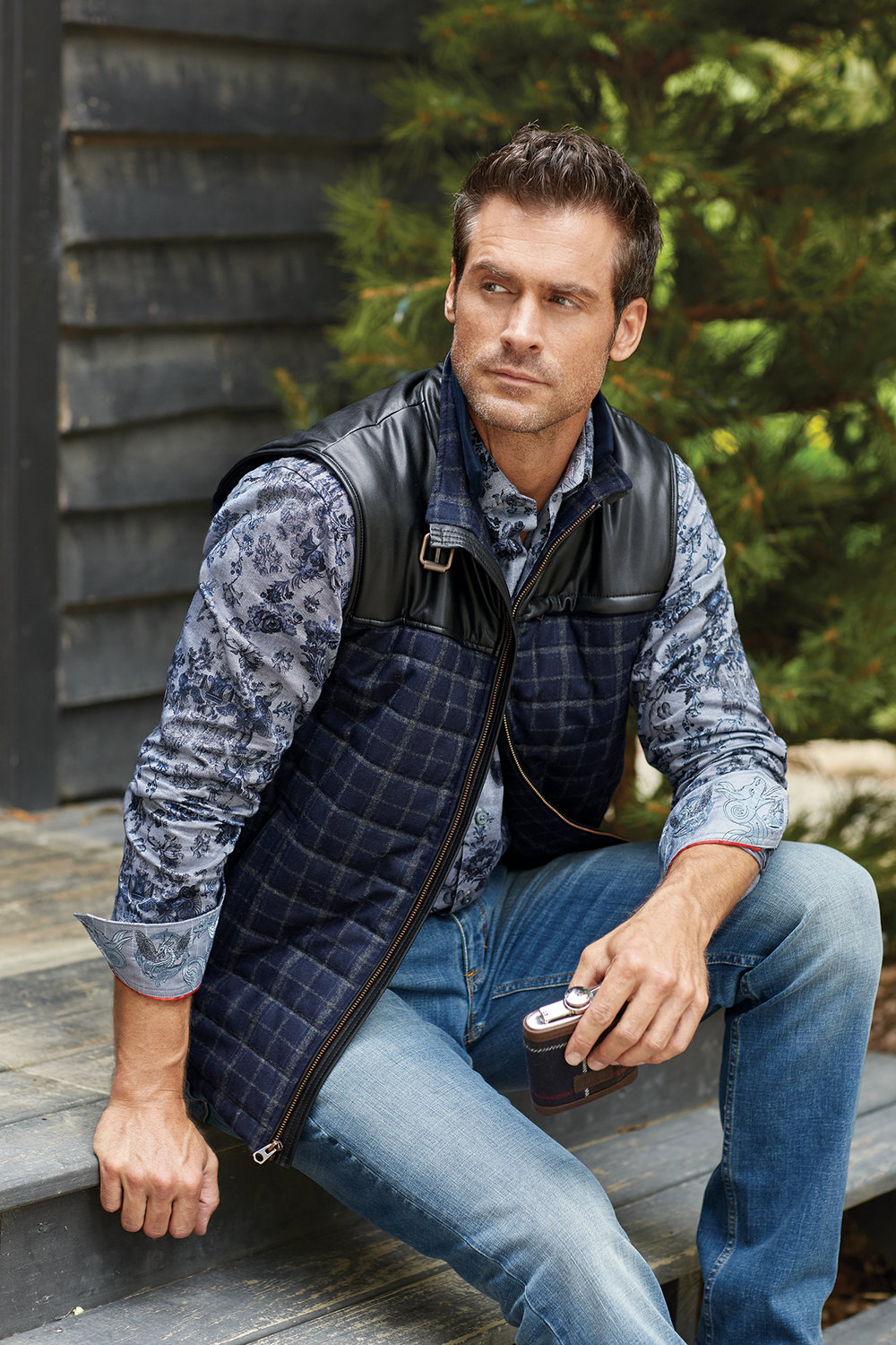 MCCLEMENT WINDOWPANE VEST BY ROBERT GRAHAM $498  BARKER FLORAL LONG SLEEVE SPORT SHIRT BY ROBERT GRAHAM $278  AUSTEN JEANS BY ROBERT GRAHAM $188  TARTON HIP AND CUPS BY BARBOUR $119   www.patrickjames.com