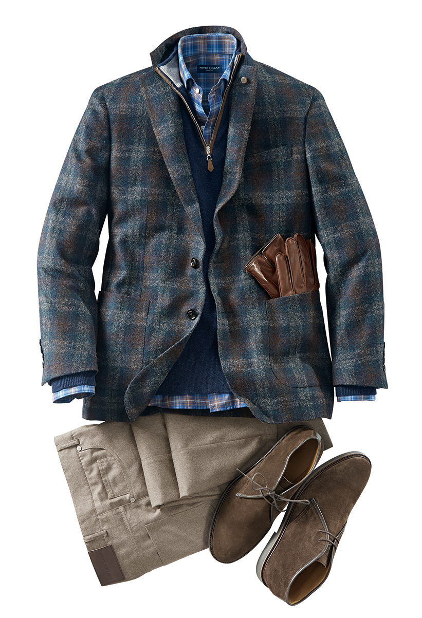 MARYLEBONE PLAID SOFT JACKET by PETER MILLAR $898  ARTISAN CRAFTED CASHMERE SWEATER by PETER MILLAR $548  EAST WEST LONG SLEEVE SPORT SHIRT by PETER MILLAR $248  ALPINE FLANNEL 5 POCKET PANTS by PETER MILLAR $248  SUEDE CHUKKA BOOTS by PETER MILLAR $298  NAPPA LEATHER GLOVES by PETER MILLAR $198   www.patrickjames.com