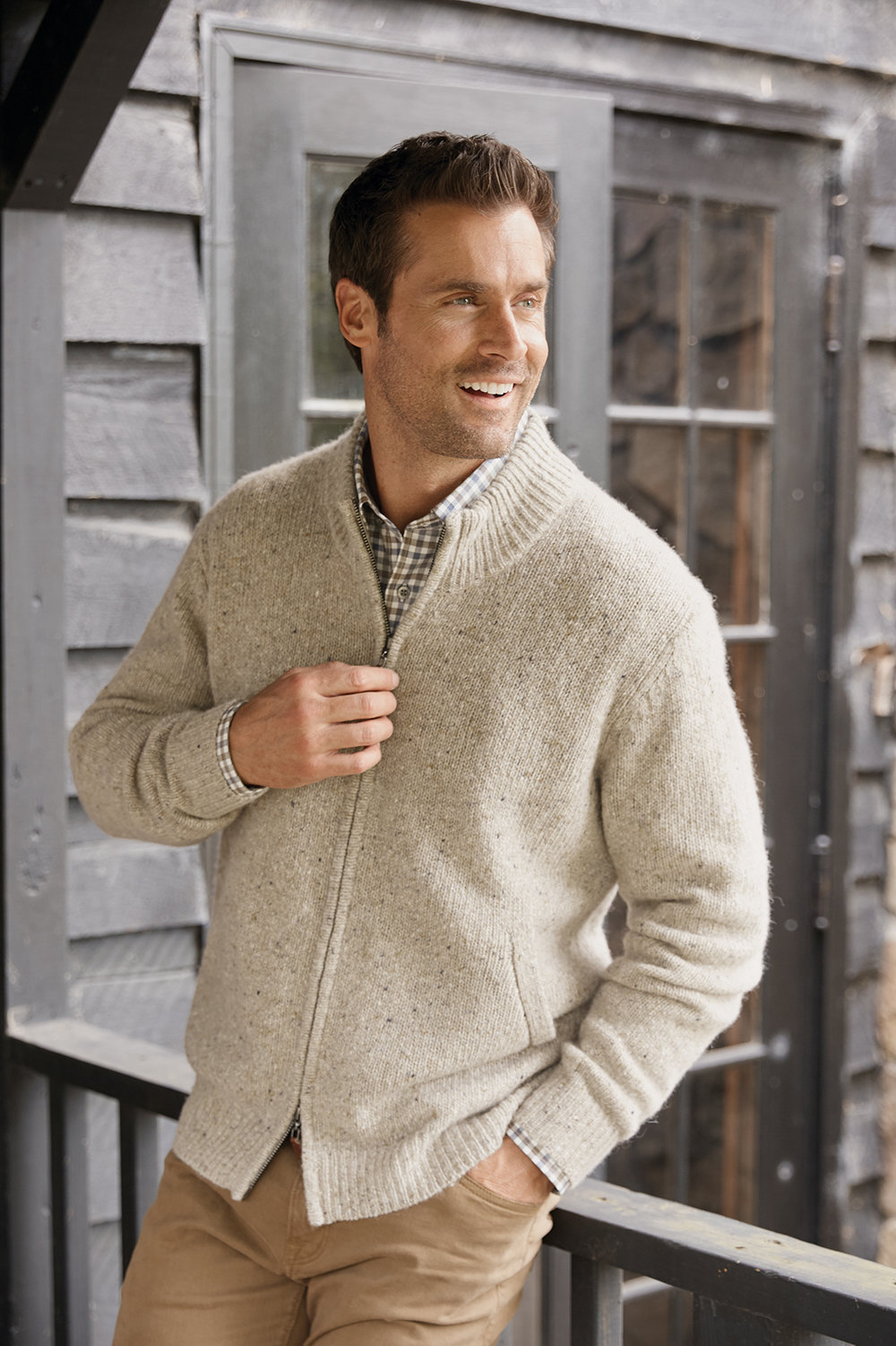 TWEED ZIPPERED CARDIGAN BY SCOTT BARBER $295  OATMEAL CHECK LONG SLEEVE SPORT SHIRT BY SCOTT BARBER $155   www.patrickjames.com