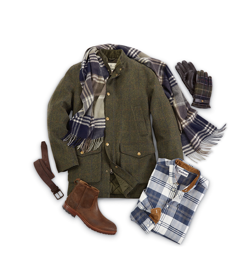 LULHAM THREE-QUARTER COAT BY BARBOUR $579  ENDSLEIGH HIGHLAND PLAID LONG SLEEVE SPORT SHIRT BY BARBOUR $119  KINDAR PLAID SCARF BY BARBOUR $69  LARKIN BROWN SUEDE BOOTS BY TRASK $285  NEWBROUGH TARTAN GLOVES BY BARBOUR $89  SNUFF ELKHORN BELT BY TRASK $95   www.patrickjames.com