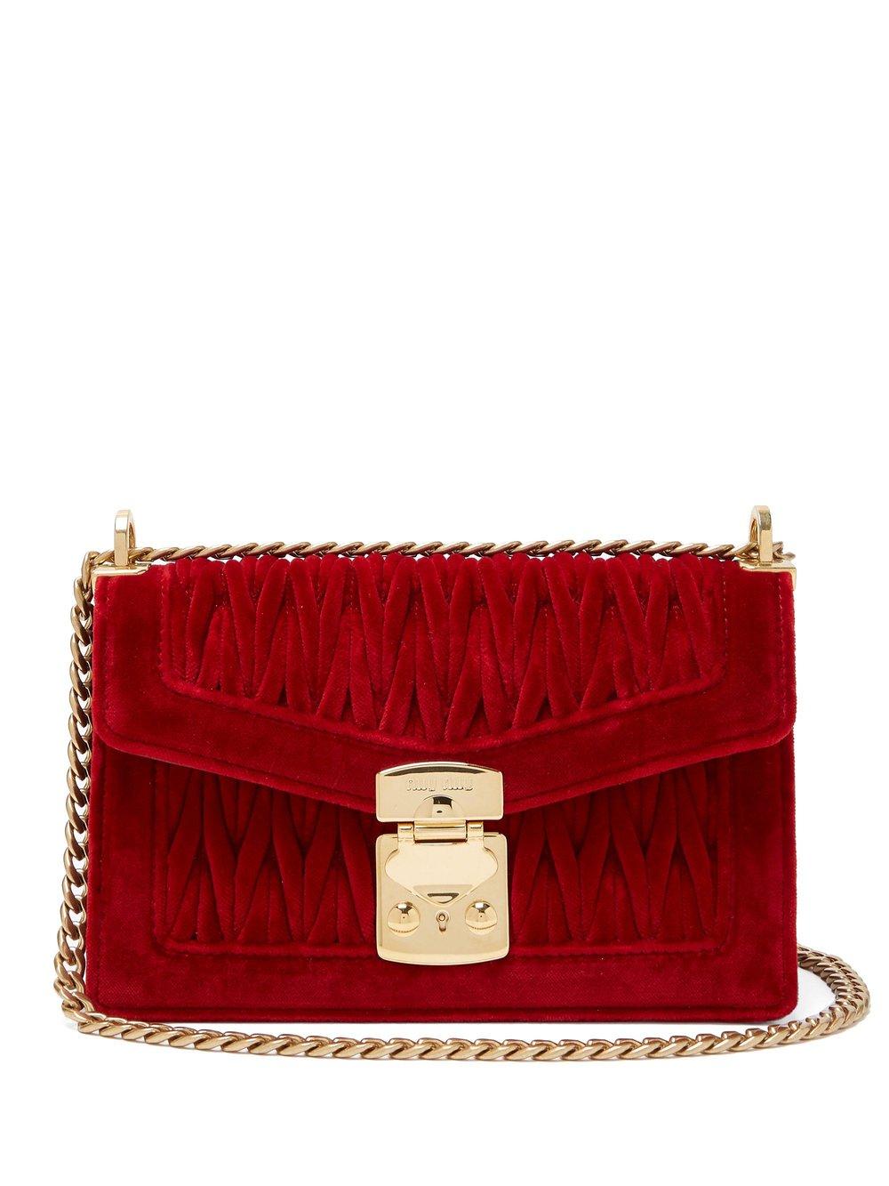 4. Miu Miu Confidential Matelassé-Velvet Shoulder Bag $1,700 from www.matchesfashion.com