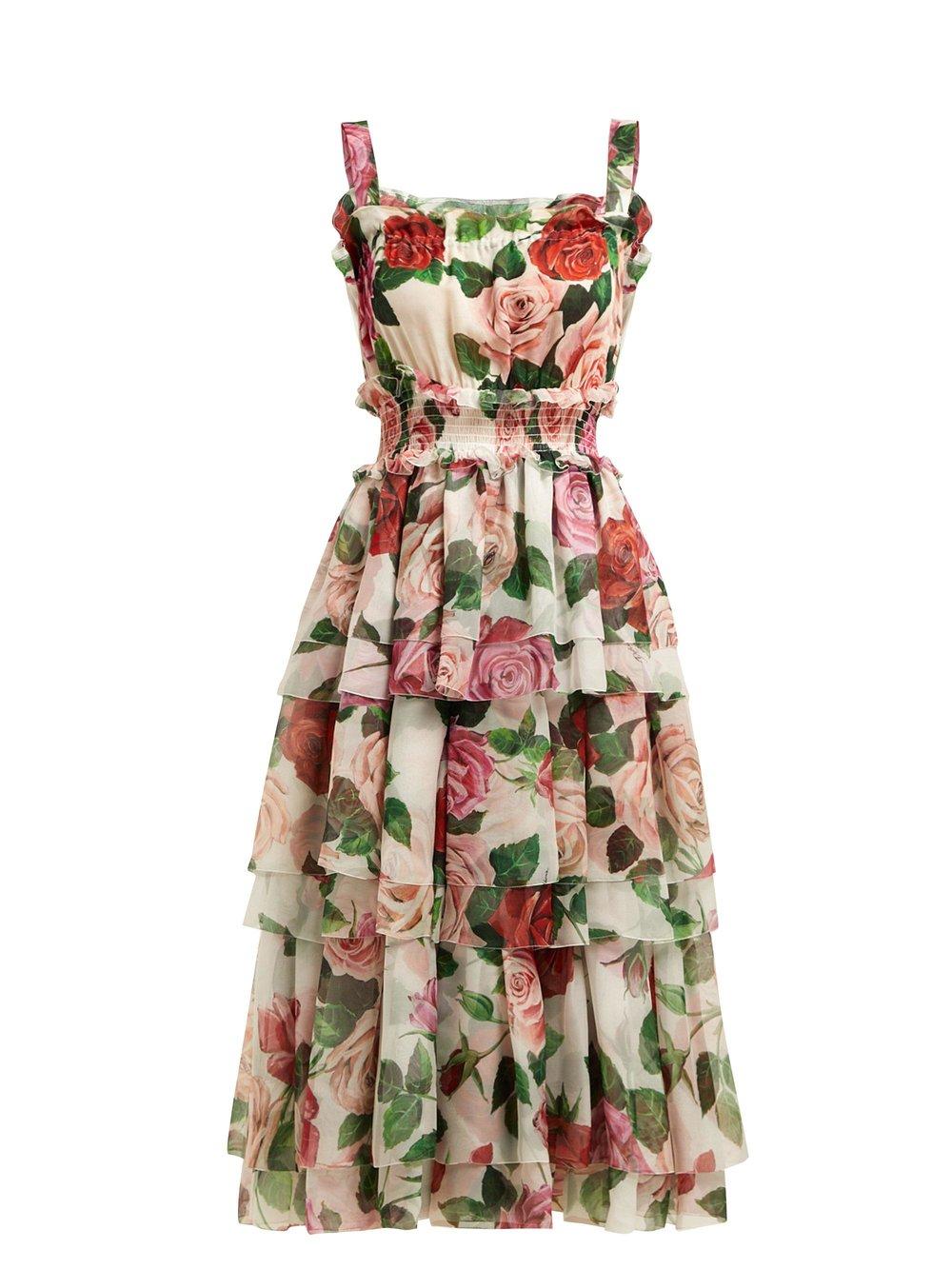 2. Dolce & Gabbana Rose-Print Tiered Silk-Chiffon Midi Dress $4,015 from www.matchesfashion.com