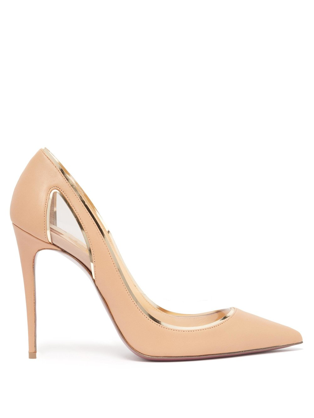 5. Christian Louboutin Cosmo 554 Tan Leather and Perspex Pumps $795 from www.matchesfashion.com