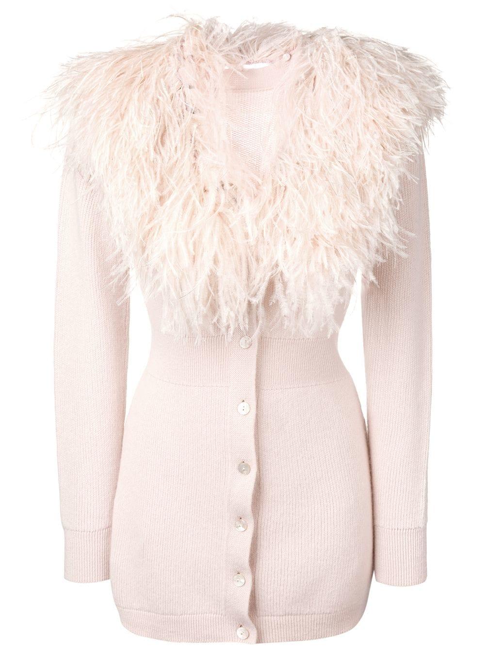 2. Blumarine Ostrich Feather Cardigan $2,080 from www.farfetch.com