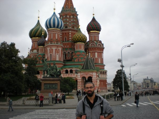 I love to learn languages and travel. It's great when those two interests collide. I studied Russian for three and a half years during college and then, many years later, had the opportunity to go. Here I am in front of the Tetris...er, St. Basil's Cathedral in Moscow.
