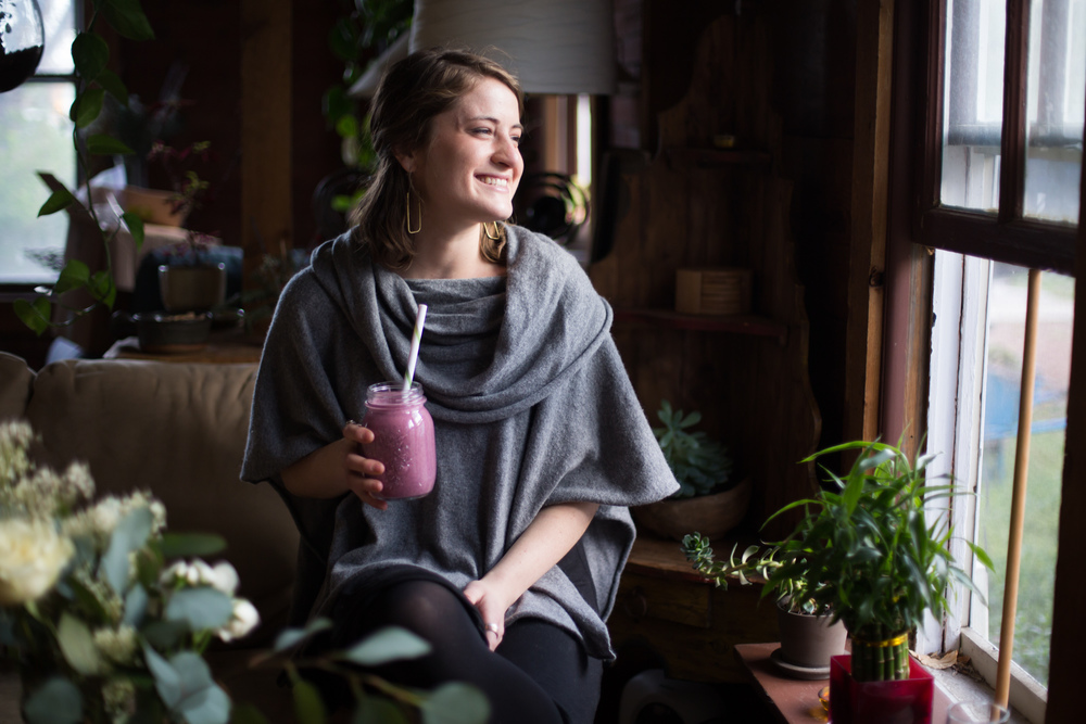 Enjoying a blueberry and coconut smoothie in my natural habitat.  Photo credit: Chandler Kim. Location: my bungalow in Boulder, Colorado.