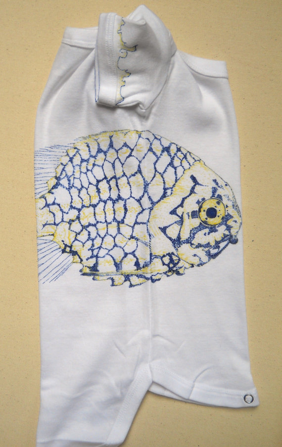 Pinecone Fish   Fabric marker on children's clothing.  Completed May 2012.