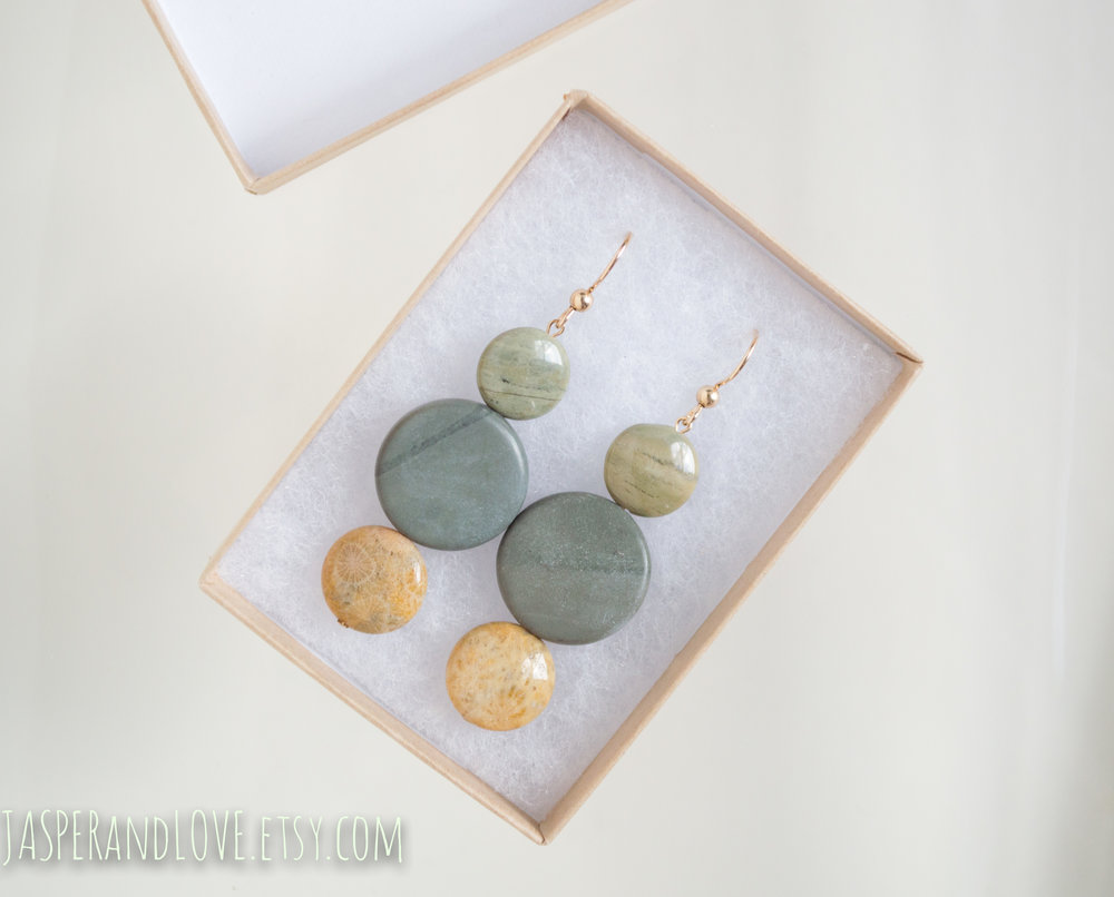 Modern Art - Marble gold earrings