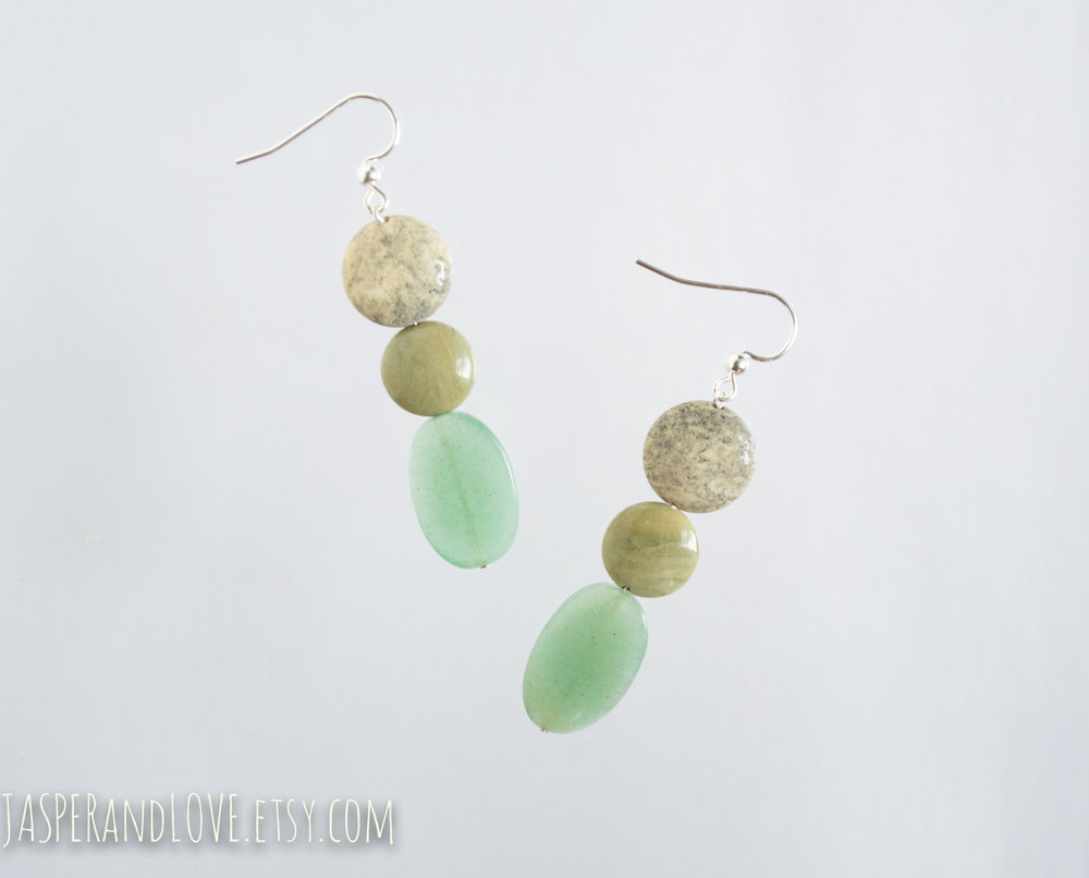 By The Lake - Sterling silver aventurine earrings