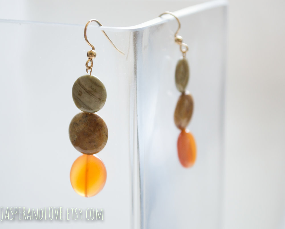 Tahitian Sunset - Carnelian gold earrings