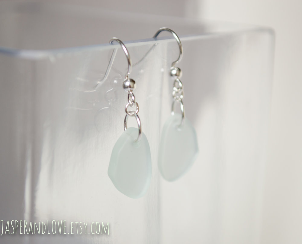 Amudra - Sterling silver, recycled glass earrings