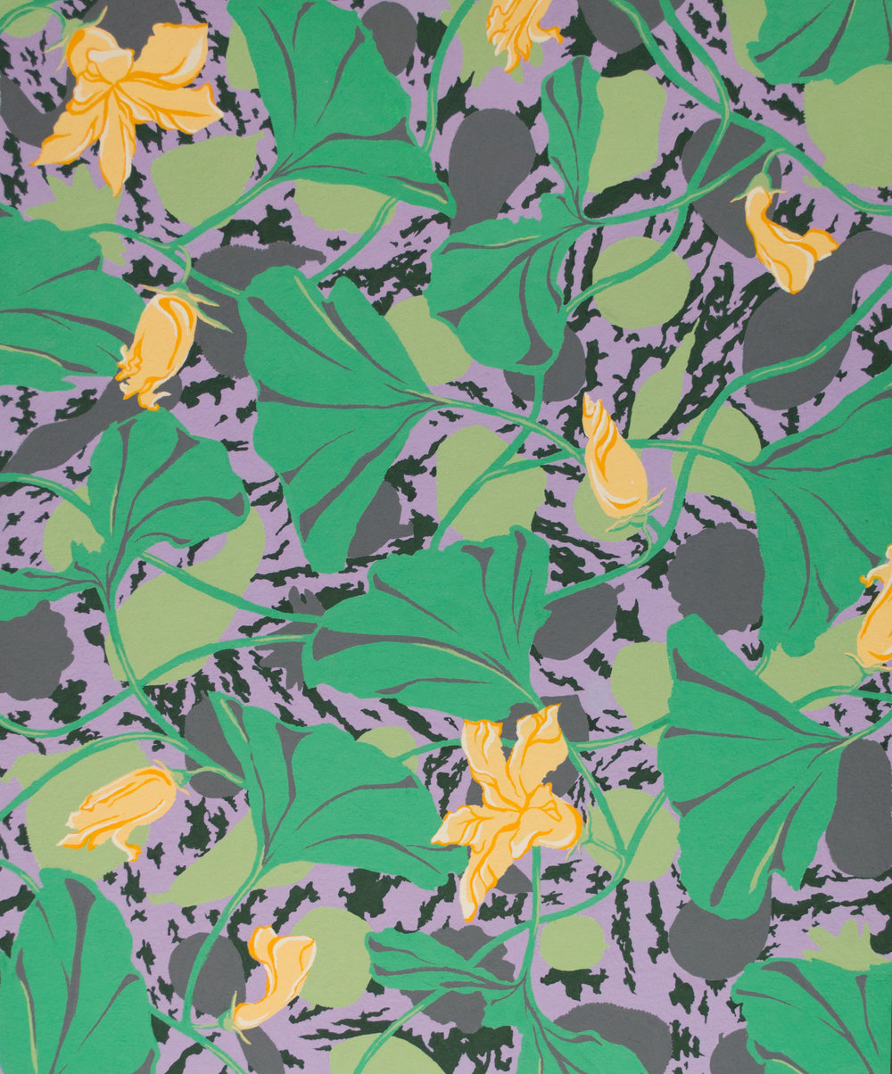 "Squash Blossoms   Gouache, 14x17""  Completed April 2017."