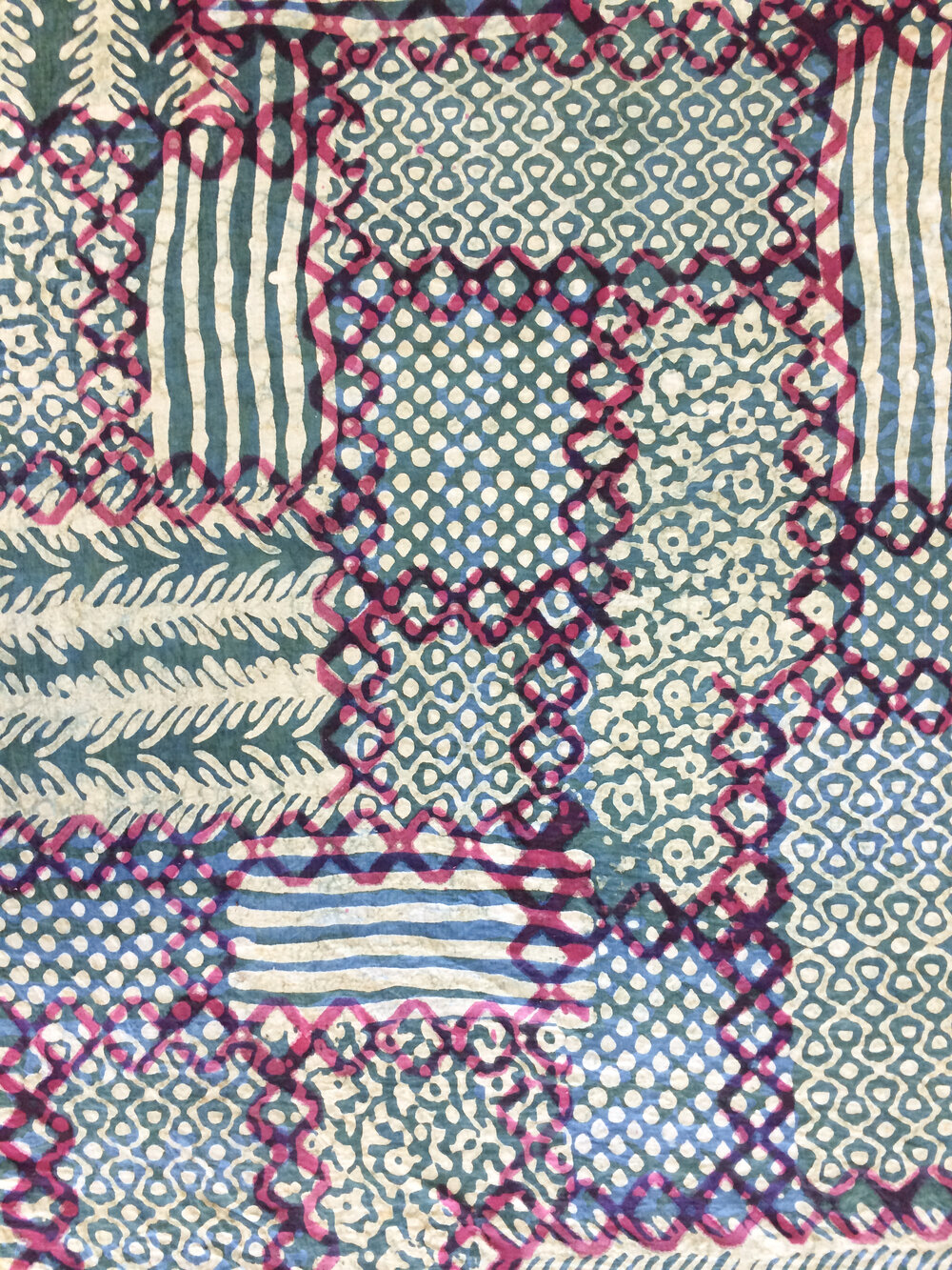 Patchwork   Mud resist indigo/pomegranate dyed sample with pigment print, made in India during block printing workshop  January 2018.
