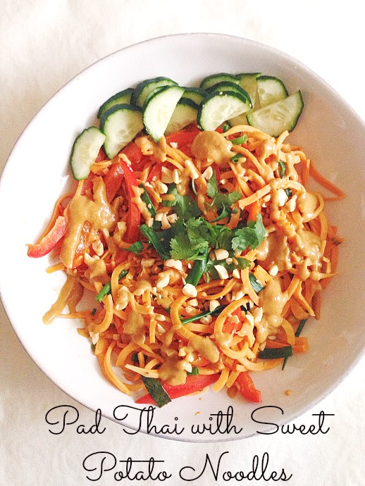 pad thai with sweet potato noodles - this little joy